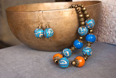 Etnika. Bohemian jewelry set in oriental style. Necklace and earrings of polymer clay. Handmade jewellery royalty free stock images
