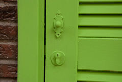 Etnika. Green door vintage with beautiful handle. Background with door stock image