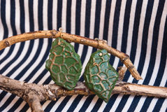 Etnika. Green earrings with gilding. Handmade jewelry of polymer clay stock image