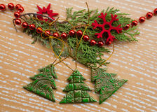 Etnika. Handmade christmas decoration noel trees with ornament gold. New year greeting card Stock Image