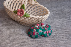 Etnika. Handmade jewelry, green earrings, interesting, made of polymer clay, african style stock photography