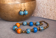 Etnika. Jewelry set in oriental style. Bohemian necklace beads and earrings. Handmade jewellery of polymer clay stock photography