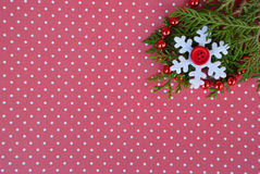 Etnika. New year background with tree, garland and  snowflakes on red paper with white points. Christmas card idea.Space for text.Xmas blank Stock Photos