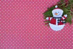 Etnika. New year background with xmas tree and  snowman on red paper with white points. Christmas card idea.Space for text.Xmas blank Royalty Free Stock Photos