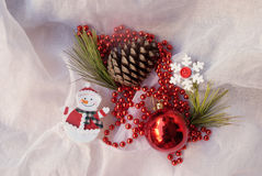 Etnika. New year composition with snowman, snowflake and christmas tree decorations. Christmas card, background, postcard Royalty Free Stock Photography