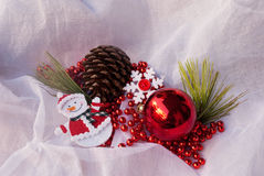 Etnika. New year composition with snowman, snowflake and christmas tree decorations. Christmas card, background, postcard Royalty Free Stock Photo