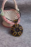 Etnika. Violet jewelry, handmade jewelry, floral necklace, pendant of polymer clay with ceramic vase stock images