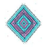 Etnisch blauw ornament Stock Afbeelding