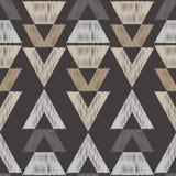 Etnisch boho naadloos patroon Stammen patroon Borduurwerk op stof Gekrabbeltextuur Retro motief Stock Foto's