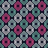 Etnisch boho naadloos patroon Traditioneel ornament Geometrische Achtergrond Stammen patroon Klein ornament met vierkanten stock illustratie