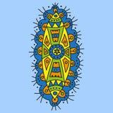 Etnisch decoratief element op een blauwe achtergrond Stock Afbeeldingen