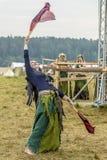 Etnisch Festival van Oude Cultuur Volksdansen in het Russische Dorp royalty-vrije stock foto