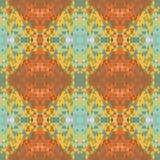Etnisch naadloos abstract vectorpatroon Geometrische naadloze achtergrond Gele en oranje kleuren, natuurlijke bruine toon Stock Foto's