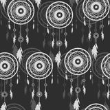 Etnisch naadloos patroon achtergrond met Dreamcatcher Royalty-vrije Stock Afbeelding