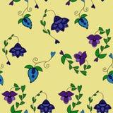Etnisch naadloos patroon met fantasiebloemen Vector bloemenachtergrond stock illustratie