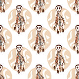 Etnisch naadloos patroon met schedels en bohoelementen Afrikaanse, stammen, Indische textuurachtergrond Vector illustratie hand-t Royalty-vrije Stock Afbeelding