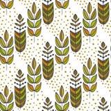 Etnisch naadloos patroon met sier kleurrijke gestileerde bladerenboom Eindeloze textuur, malplaatje voor stof, textiel Stock Fotografie