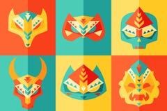 Etnisch, Origami, Carnaval-Masker Vectorillustratie Royalty-vrije Stock Afbeeldingen