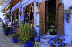 Etnisch restaurant in Chefchaouen, Marokko stock afbeeldingen