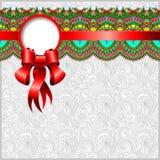 Etnisch sierpatroon met zijdelint Royalty-vrije Stock Afbeelding