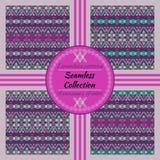Etnisch stammen geometrisch patroon 4 varianten van kleur met binnen monsters Stock Fotografie