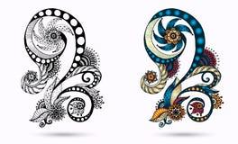 Etnische bloemenzentangle, krabbel achtergrondpatrooncirkel in vector royalty-vrije illustratie