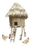 Etnische dorpskippenren. Royalty-vrije Stock Foto