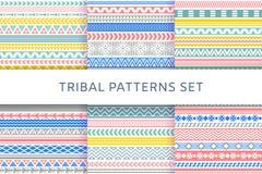 Etnische geplaatste boho stammen Indische naadloze patronen stock illustratie
