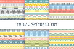 Etnische geplaatste boho stammen Indische naadloze patronen vector illustratie