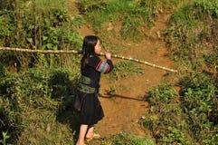 Etnische Hmong-minderheidsjonge geitjes die in openlucht spelen Royalty-vrije Stock Foto