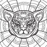 Etnische Kat Cat Head Hand getrokken illustratie in zentanglestijl - Vectorillustratie Stock Foto's