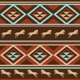 Etnische klompachtergrond met paard. stock illustratie