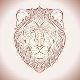 Etnische leeuw Lijnillustratie Royalty-vrije Stock Fotografie