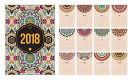 Etnische mandala van het kalender 2018 jaar Royalty-vrije Stock Foto's