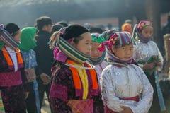 Etnische minderheidvrouw, bij oude Dong Van-markt royalty-vrije stock fotografie