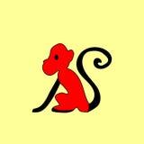 Etnische ornament van de silhouet het rode aap Stock Afbeeldingen