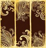 Etnische referenties met gouden Paisley ornamenten Royalty-vrije Stock Foto