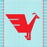 Etnische rode geometrische vogel Stock Fotografie