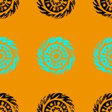 Etnische, stammen, inheemse cirkel, mandala Getrokken hand linocut Naadloos patroon Afrikaans, Mexicaans, Indisch, oosters orname vector illustratie
