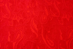 Etnische stof van close-up de rode mooie geweven overladen Paisley Stock Afbeeldingen