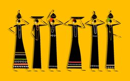 Etnische vrouwen met kruiken voor uw ontwerp Royalty-vrije Stock Fotografie
