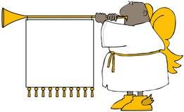 Etnisk ängel som blåser ett horn royaltyfri illustrationer