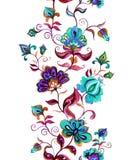 Etnisk östlig - den europeiska blom- ramen - sömlös gräns med stiliserade blommor vattenfärg Royaltyfri Foto