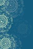 Etnisk bakgrund för inbjudankortblått royaltyfri illustrationer