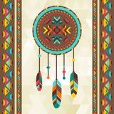 Etnisk bakgrund med dreamcatcher i navajo Royaltyfri Foto