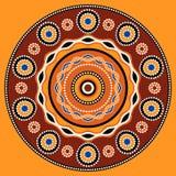 Etnisk cirkelbakgrundsdesign Australisk traditionell geometrisk prydnad vektor illustrationer