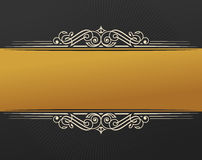 Etnisk design för banerislam Guld- ram för inbjudantappningetikett Tomt klistermärkeemblem Östlig svart illustration för Royaltyfri Foto