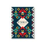 Etnisk designabstrat, stam- geometrisk prydnad för färgrik ethno, moderiktig modellbeståndsdel för affärskort, logo vektor illustrationer