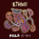 Etnisk designbeståndsdel för vektor Ethno MOLA Art Form Mola Style Bird Ethno ljus dekorativ illustration Fotografering för Bildbyråer