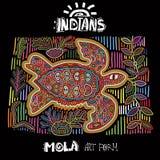 Etnisk designbeståndsdel för vektor indier MOLA Art Form Mola Style Turtle Ethno ljus dekorativ illustration Arkivbild